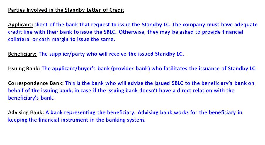 Parties Involved in the Standby Letter of Credit